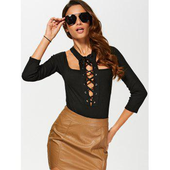 Low Cut Cut Out Lace Up Bodysuit - BLACK M
