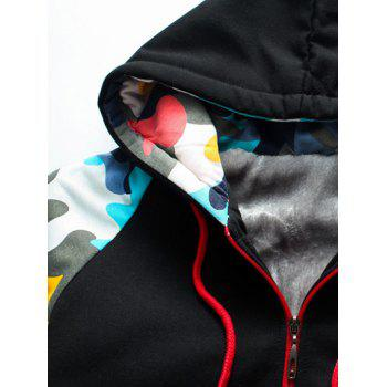 Zip Up Camouflage Splicing Flocking Hoodie and Pants Twinset - BLACK 2XL