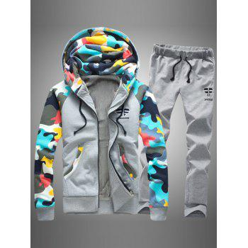 Zip Up Camouflage Splicing Flocking Hoodie and Pants Twinset