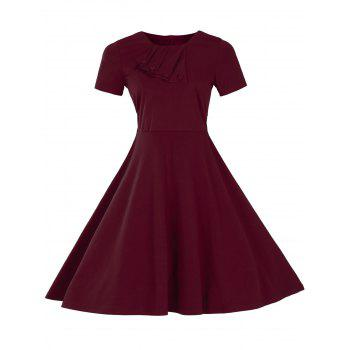 Vintage Short Sleeve Fit and Flare Pin Up Dress - BURGUNDY BURGUNDY