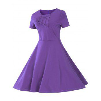 Vintage Short Sleeve Fit and Flare Pin Up Dress - PURPLE PURPLE