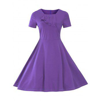 Vintage Short Sleeve Fit and Flare Pin Up Dress - PURPLE 3XL