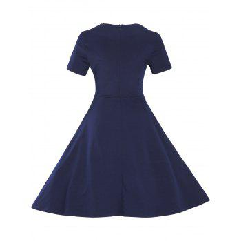 Vintage Short Sleeve Fit and Flare Pin Up Dress - PURPLISH BLUE 3XL