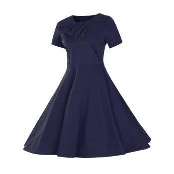 Vintage Short Sleeve Fit and Flare Pin Up Dress - PURPLISH BLUE S