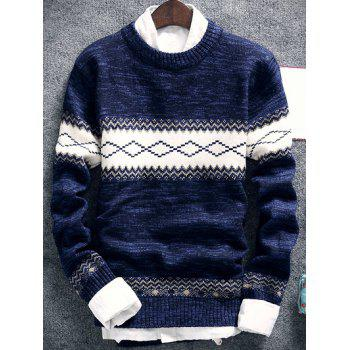 Space Dye Geometric Pattern Crew Neck Sweater