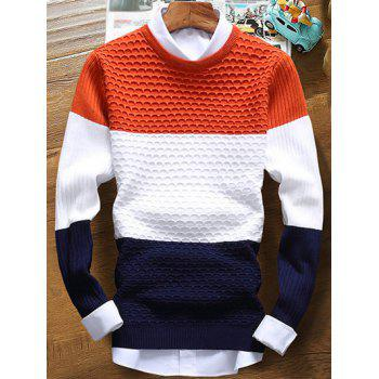 Ribbed Color Striped Texture Sweater