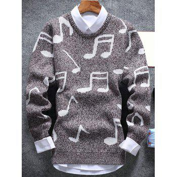 Crew Neck Music Note Pattern Sweater