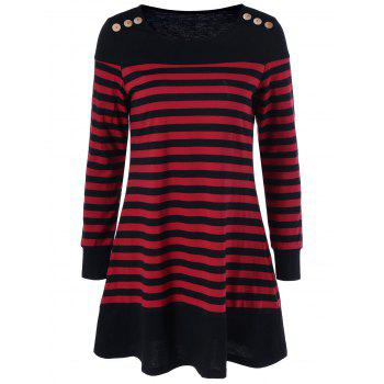 Long Sleeve Striped Mini Casual Dress