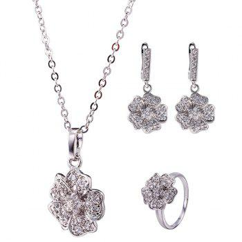 Floral Rhinestone Necklace Set