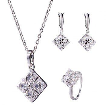 Square Clover Rhinestone Necklace Set