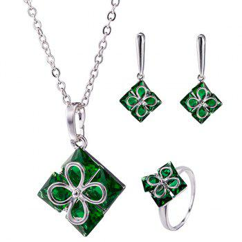 Clover Square Polished Necklace Set