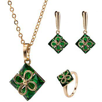 Square Clover Ornate Necklace Set