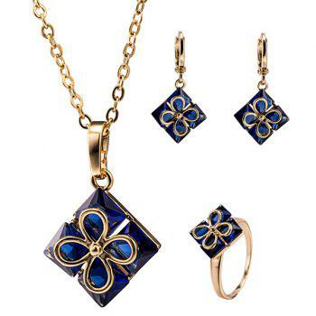 Rhombus Rhinestone Clover Necklace Set