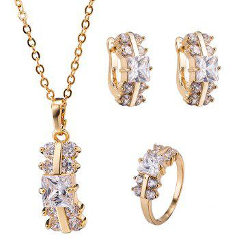 Zircon Rectangle Alloy Necklace Set