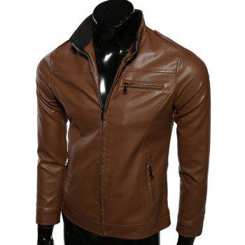 Zip-Up Rib Splicing Stand Collar PU-Leather Jacket