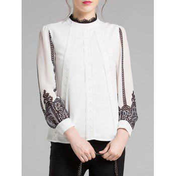 Long Sleeves Lace Splicing Chiffon Blouse