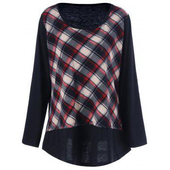 Plus Size Plaid Patchwork Tee