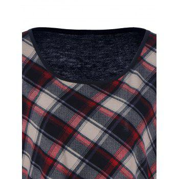 Plus Size Plaid Patchwork Tee - CHECKED XL
