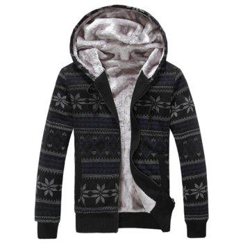Buy Zip Snowflake Print Flocking Hoodie BLACK