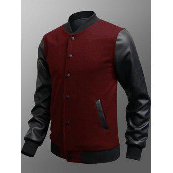 Snap Button Up Side Pocket PU Insert Jacket - BURGUNDY L