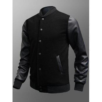 Snap Button Up Side Pocket PU Insert Jacket - BLACK BLACK