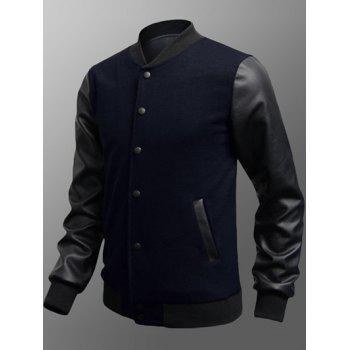 Snap Button Up Side Pocket PU Insert Jacket - DEEP BLUE 2XL