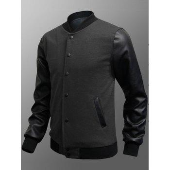 Snap Button Up Side Pocket PU Insert Jacket - DEEP GRAY L