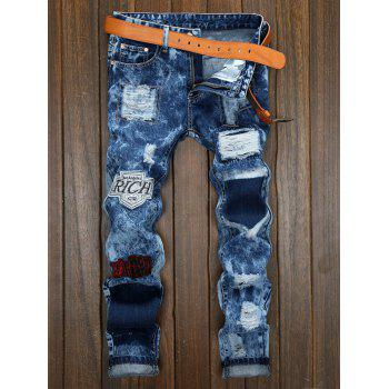 Plus Size Bleach Wash Zipper Fly Patch and Holes Design Jeans