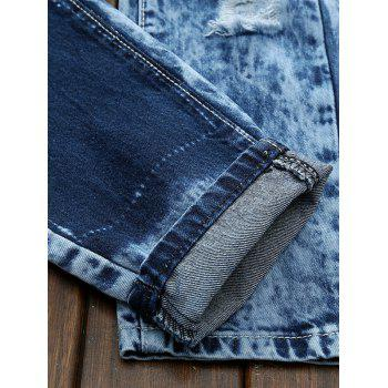 Plus Size Bleach Wash Zipper Fly Patch and Holes Design Jeans - BLUE 28