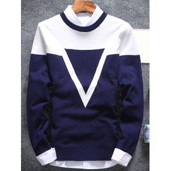 Crew Neck Inverted Triangle Flat Knitted Sweater
