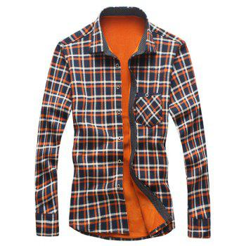 Checked Print Flocking Shirt