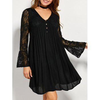 V Neck Long Sleeve Lace Insert Tunic Dress