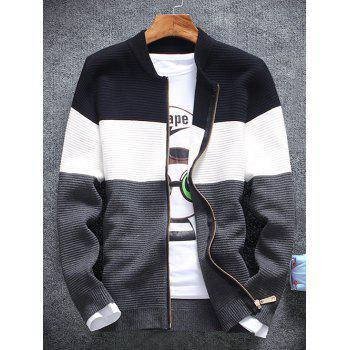 Color Block Rib Splicing Stand Collar Knit Blends Jacket