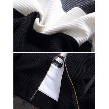 Color Block Rib Splicing Stand Collar Knit Blends Jacket - BLACK M