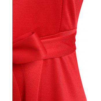 Slim Fit Bowknot Tied Belt Swing Dress - RED RED