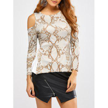 Cold Shoulder Snakeskin Print T-Shirt
