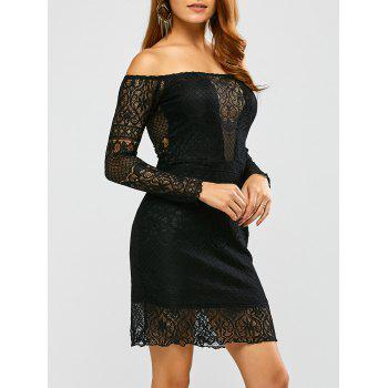 Off Shoulder Long Sleeve Lace Short Club Dress