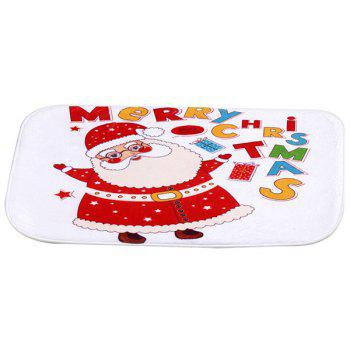 Christmas Santa Claus Antislip Fleece Room Decor Doormat Carpet -  RED