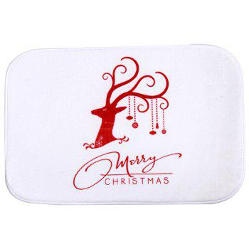 Antislip Merry Christmas Deer Room Decor Doormat Carpet - WHITE WHITE