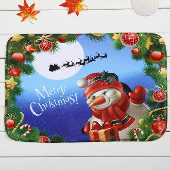 Antislip Merry Christmas Snowman Room Decor Fleece Doormat Carpet