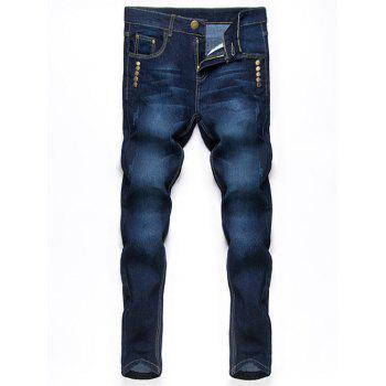 Button Embellished Zipper Fly Jeans in Taper Fit