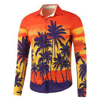 Buy Coconut Tree Printed Long Sleeve Shirt ORANGE