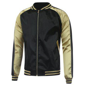 Letter Wing Embroidery Rib Spliced Sukajan Jacket - GOLDEN 2XL