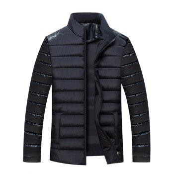 Stand Collar Zip Up PU Leather Panel Quilted Jacket
