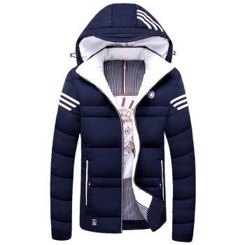 Striped Zip Up Hooded Quilted Jacket - PURPLISH BLUE PURPLISH BLUE