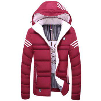 Striped Zip Up Hooded Quilted Jacket - RED RED