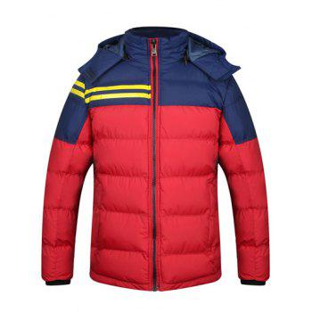 Color Block Striped Zip Up Hooded Quilted Jacket - RED XL