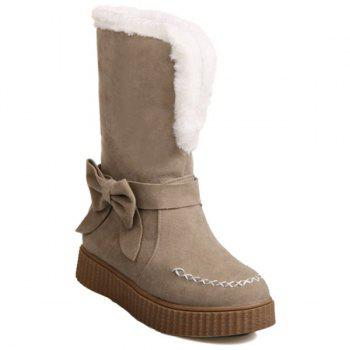 Stitching Faux Fur Bow Snow Boots