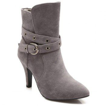 Belt Buckle Cross Straps Eyelets Short Boots