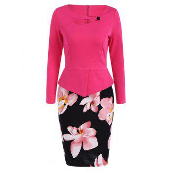 Cut Out Floral Print Button Bodycon Dress